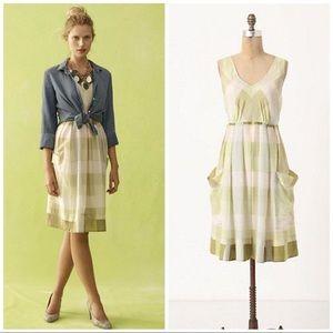 Anthropologie Maeve Inwood Silk Green Plaid Dress